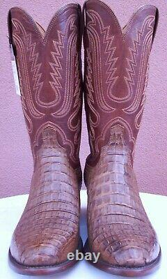 Lucchese Tan Burnished HBC Crocodile Skin Boots, Style# N1157, Size (10.5 EE)