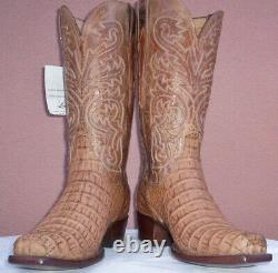 Lucchese Tan Burnished HB Jacare Crocodile Boots, Style# HL1017, Size (10 D)