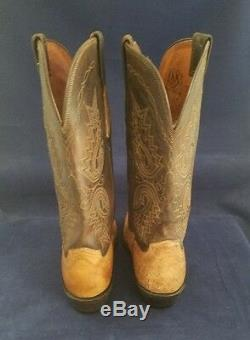 Lucchese Tan Full Quill Ostrich Cowboy Boots Size 9