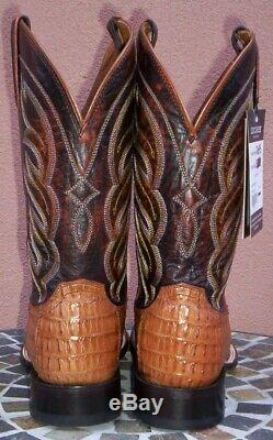 Lucchese Tan Horn Back Caiman Crocodile Tail Cowboy Boots, Size (10 D)