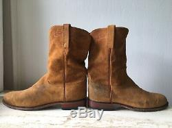 Lucchese Tan Suede 10.5 D Leather Round Toe Ropers Men's 2000 Western Ride Boots