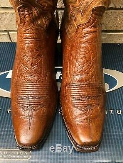 Lucchese Tobacco Brown Antelope And Tan Mad Dog Goat Cowboy Western Boots 12 Ee
