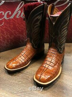 Lucchese Western Boots Mens 8.5 D Hornback Caiman Tail Tan