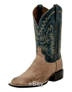 Lucchese Western Boots Mens Color Top Ostrich 11 D Tan Blue M2671