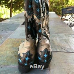 Lucchese Women's 7.5 Resistol Ranch Cowboy Boots Turquoise Brown Tan
