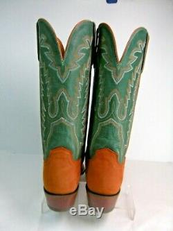 Lucchese Womens Cowboy Boots Size 8.5 B Rusty Tan Suede with Green Shaft #46 JS