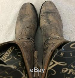 Lucchese Womens Stone Washed Cowboy Boots Size 8.5 B NIB Made in USA MD Goat Tan