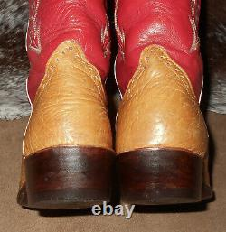 Luskey's 18 Tall Top buckaroo style boots tan red 9 1/2 D cowboy western riding
