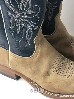 MENS ANDERSON BEAN TAN AMERICAN BISON LEATHER Cowboy WESTERN BOOTS 8 D S1107