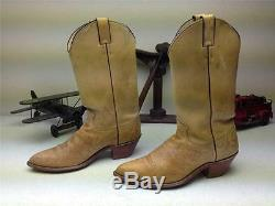 Made In USA Tan Brown Leather Distressed Justin Western Cowboy Work Boots 10 M