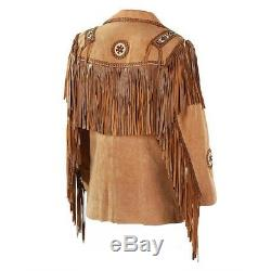 Men Suede Western Style Cowboy Leather Jacket With Fringe & Bead Work -Tan Brown