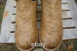 Men's 11 EE Extra Wide Lucchese 2000 Tan Full Quill Ostrich Crepe Cowboy Boots