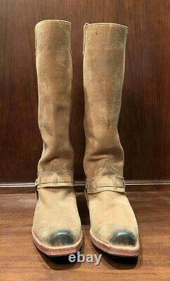 Men's 17 Tall Tan Suede Sendra Western Cowboy Boots Removeable Harness
