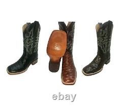 Men's Cowboy Ostrich Print Leather Western Rodeo Square Toe Boots with Free Mask