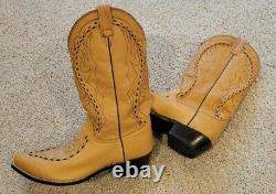 Men's Dan Post Tan Leather Buck stitched Cowboy Boots 11 Awesome! Iowa BOOT Man