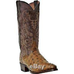 Men's Dan Post Tempe Saddle Tan Full Quill Ostrich Western Boots Dp2323