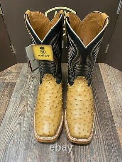 Men's Gallup Square Toe Full quill ostrich western boot by Ariat. Tan