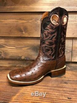 Men's Geniuine Exotic Ostrich Cowboy Square Toe Boots Handcrafted in Mexico