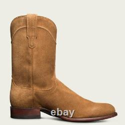 Men's Handmade Customized Real Suede Leather Ankle High Cowboy Boots Tan
