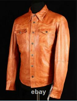 Men's Leather Shirt Western Trucker Cowboy Real Leather Summer Jacket Tan Cuir