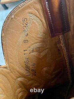 Men's Lucchese Boots, Model L5089 Lizard & Goat, Burnished Tan 11 B