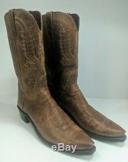 Men's Lucchese Crayton Mad Dog Goat Boots Burnished Tan Size 11.5 D #1547.54