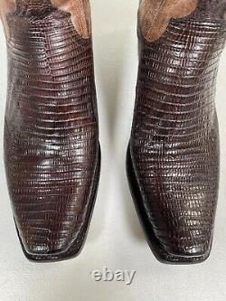 Men's Lucchese Lizard Boots Percy Antique Tan Genuine Handmade Size 13 M2904.74