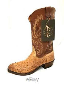 Men's Lucchese Western Boots N1061. S4 Size 8.5d Tan Burnish Ostrich