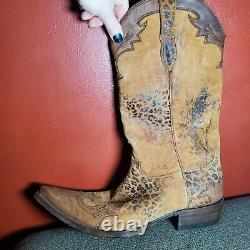 Men's Old Gringo Tan Leather Cowboy Motorcycle Soles Boots 10.5 Used VS