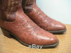 Mens 8.5 D LUCCHESE Diego Tan Brown Exotic FULL QUILL OSTRICH Cowboy Boots