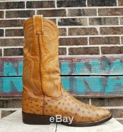 Mens 8.5 D Vintage Nocona Boots Brown Tan Ostrich Leather Cowboy Western 9056