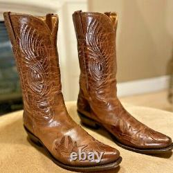 Mens CHARLIE 1 HORSE by LUCCHESE Burnished Tan Snip Toe Cowboy Boots, 9.5D