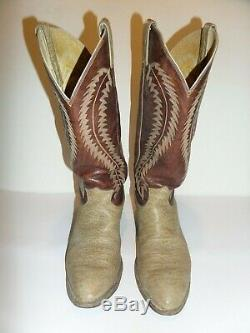 Mens Justin Tan/Brown VTG Tall Buckaroo Leather Western Cowboy Boots Size 10 D