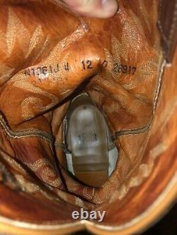 Mens LUCCHESE 1883 Full quill Ostrich Boots Size 12 D Tan Excellent Condition