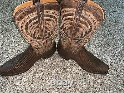 Mens Lucchese Cowboy Boots Lizard Antique Tan Size 11 EE