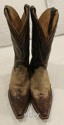 Mens Stetson Cowboy Boots Crackled Tan Leather Brown tooled trim Julian 9.5 D