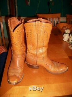 Mens Vintage San Antonio Lucchese Tan French Slope Toe Cowboy Western Boots 9 D