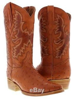 Mens cognac brown ostrich exotic western leather cowboy boots rodeo tan sole