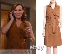 NEW Chelsea28 + Olivia Palermo Tan Brown Suede Leather Sleeveless Trench Dress S