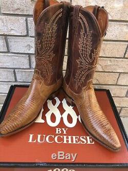NEW! LUCCHESE COGNAC TAN TEJU LIZARD COWBOY WESTERN BOOTS 10 D Made In USA