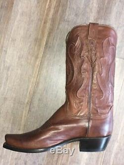 NEW Men's Lucchese Cole Size 10D USA Squared Off Toe Cowboy Heel Boot Tan