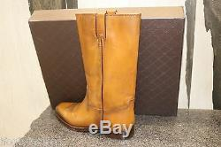NIB GUCCI CLASSIC COWBOY BETIS GLAMOUR OMBRE TAN PULL UP FLAT BOOTS Shoes 40