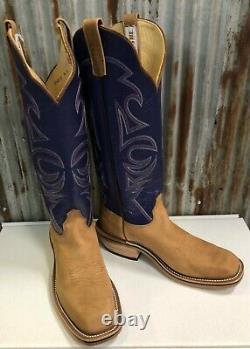 NIB Olathe Tan WhiteTail with16 Orchid Kid Cutter Toe Cowboy Boots -USA Made
