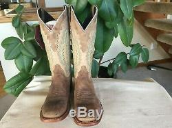NICE Lucchese Brown & Tan Leather Cowboy Boots Turquoise Stitching 10 1/2 B