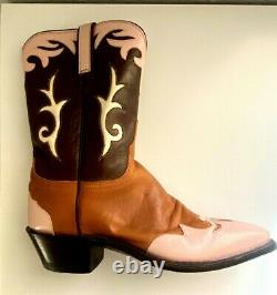 NWOT Lucchese Bootmakers 1883 Women's Cowboy Boots Pink Tan Brown Sz 8.5