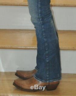 NWT Box Lucchese Womens Cowboy Boots Cassidy Tan Mad Goat Snip Toe 8.5B Made USA