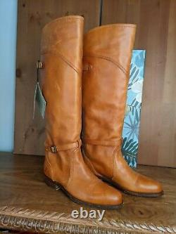 NWT FRYE Sz 8 TALL Riding Boots Aged Tan Leather SPAIN GORGEOUS Orig $448 LOOK