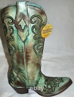 New Corral Tan Turquoise Leather Cord Stitch Cowboy Boots Womens Size 9.5 C2990