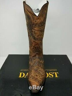 New Dan Post Men's Tan Mad Cat Leather Size 12 D Sidewinder Cowboy Boots
