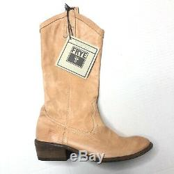 New Frye Carson Size 6 Pull On Tan Leather Boots Cowboy Western RARE Womens